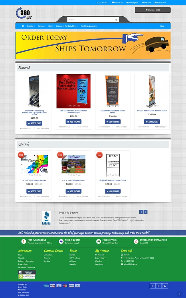 Full page view of the Home page of the 360Ink ecommerce store.