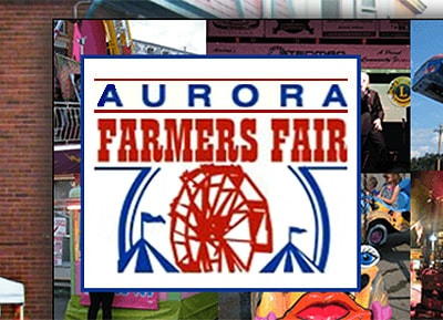 Screenshot                         of the logo Aurora Farmers Fair as scene on the their website.