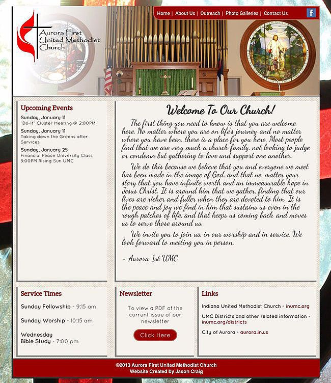 Full-page view of the Home page of the Aurora First United Methodist Church website.