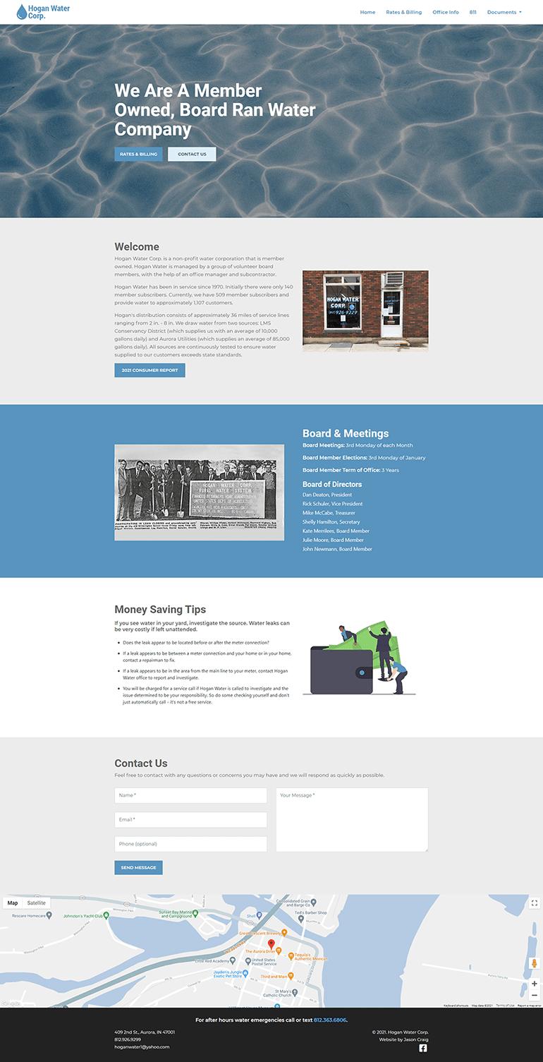 Hogan Water Corp. website layout.