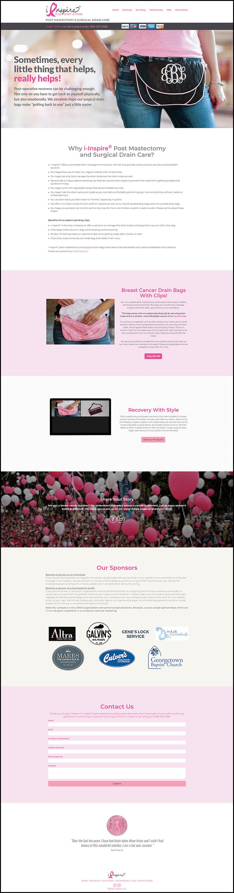 iInspire website homepage layout.