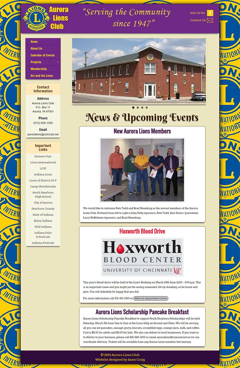 Full-page view of the Aurora Lions Club website.