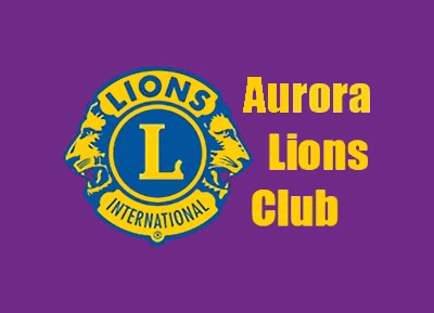 Screenshot of the logo for the Aurora Lions Club as seen on their website.
