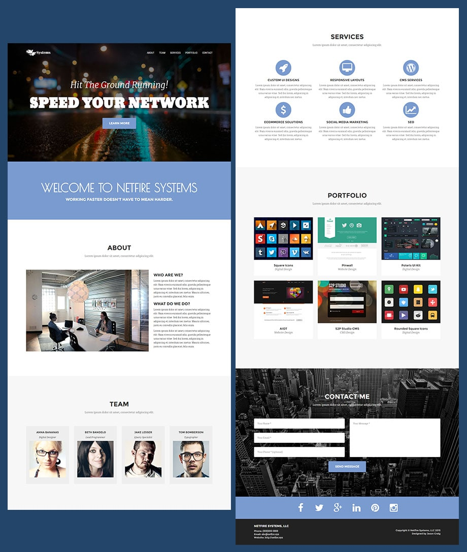 A display of the full-length of the Netfire Theme made with the Bootstrap 3 framework.