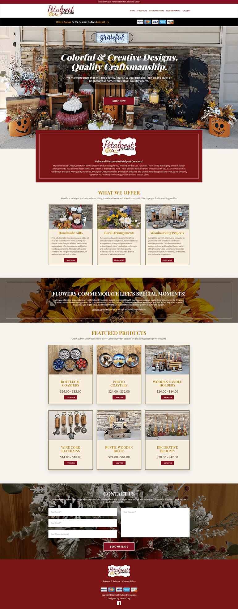 Petalpost Creations website homepage layout.