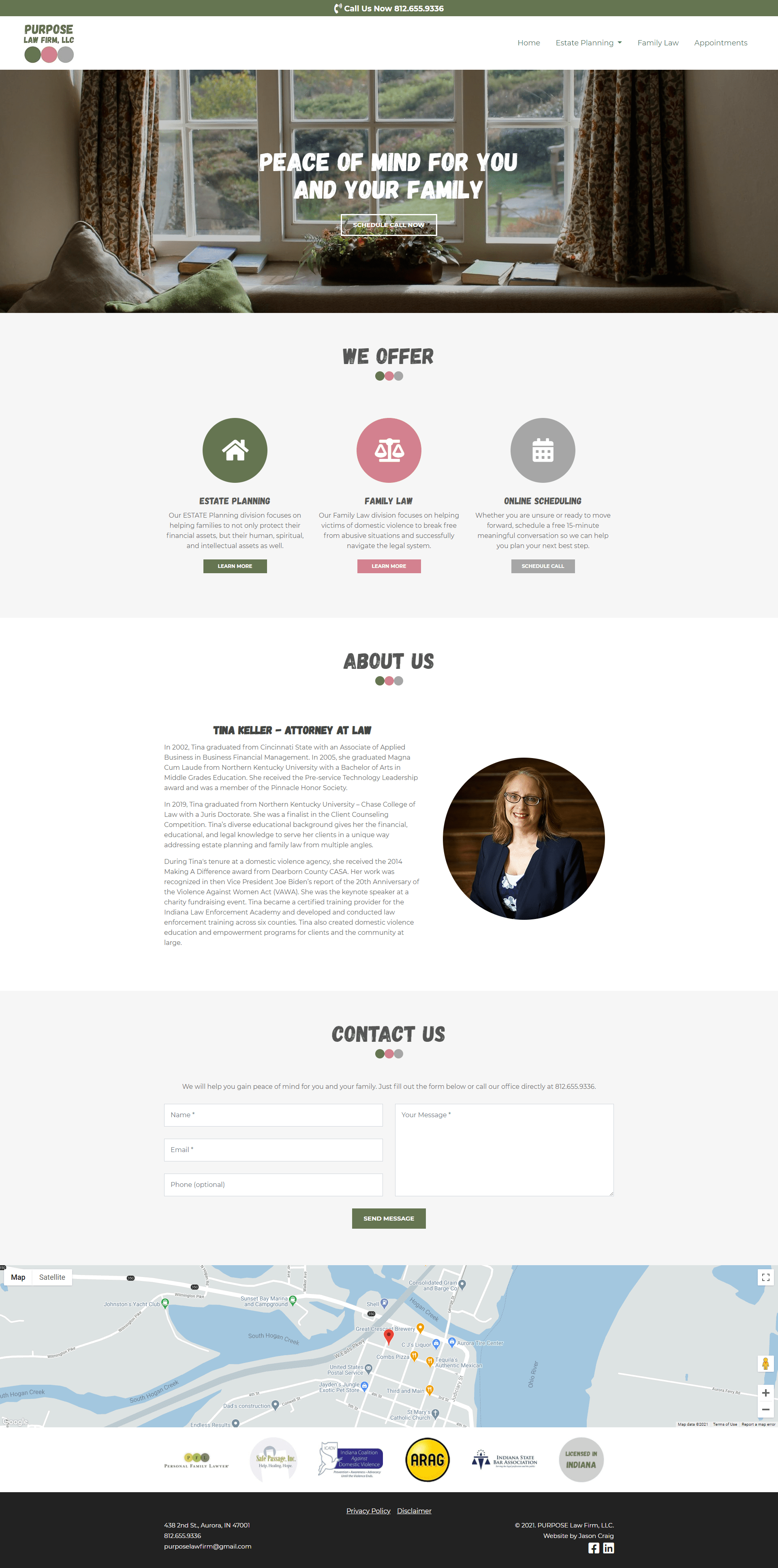 Purpose Law Firm's website homepage layout.