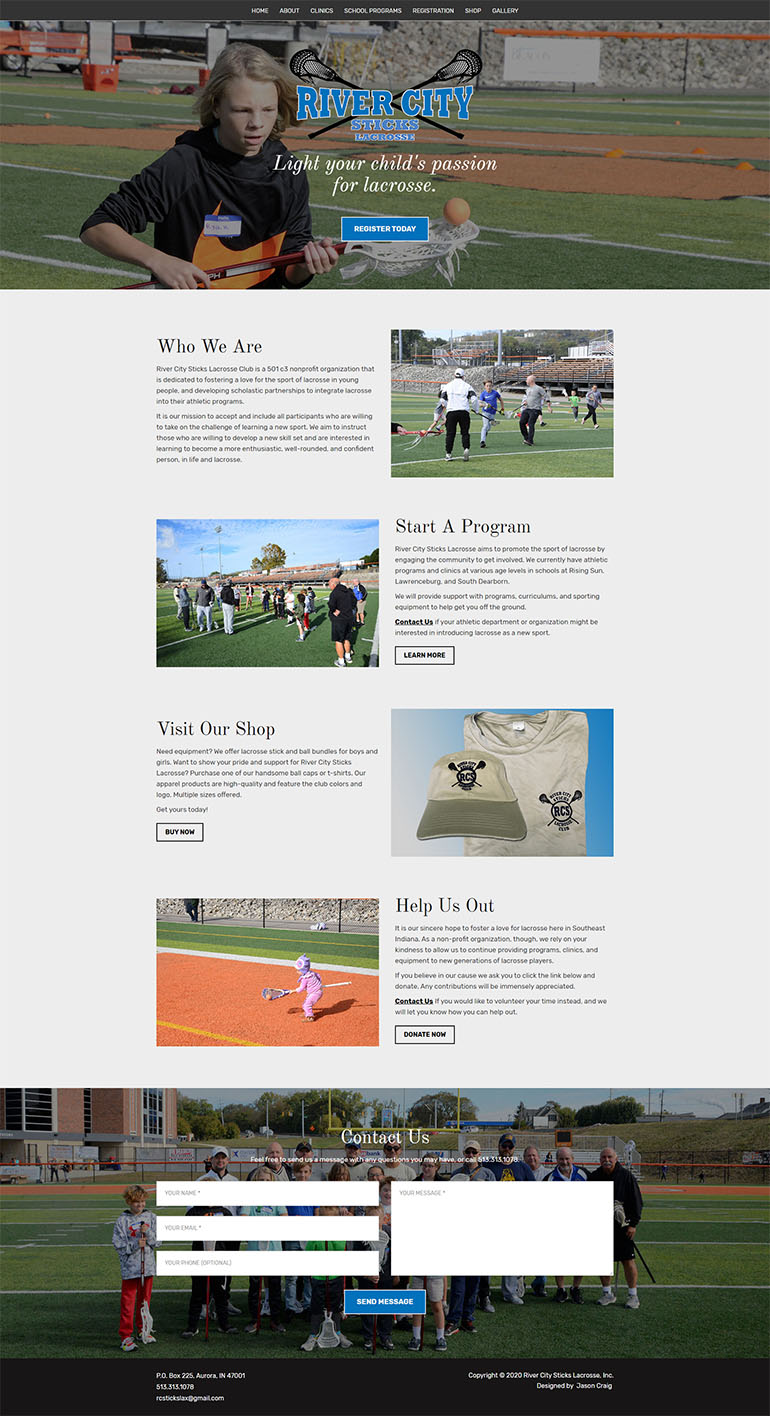 River City Sticks Lacrosse website homepage layout.