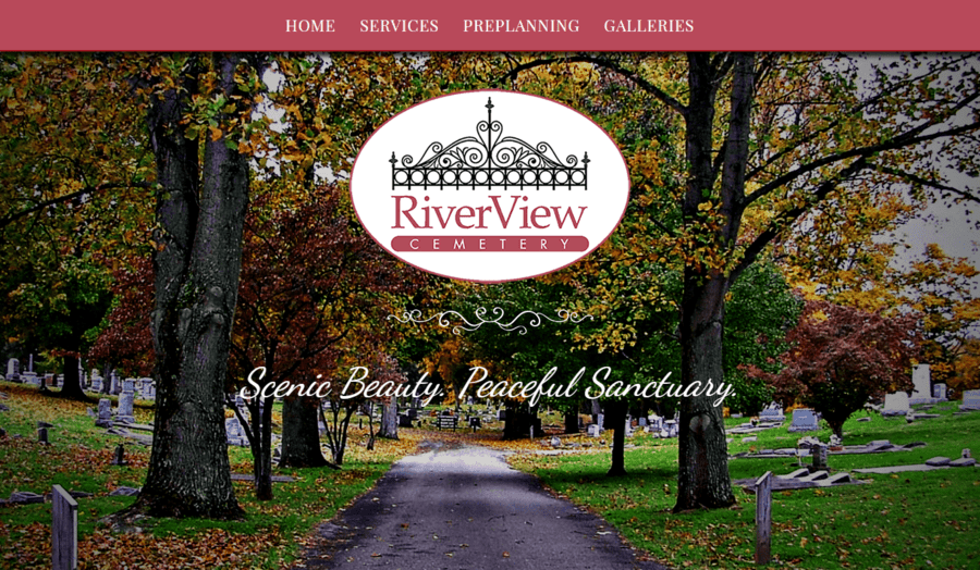 Header section of the River View Cemetery website.