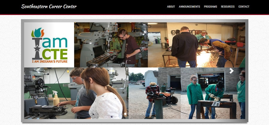 Header section of the website for the Southeastern Career Center in Versailles, Indiana.