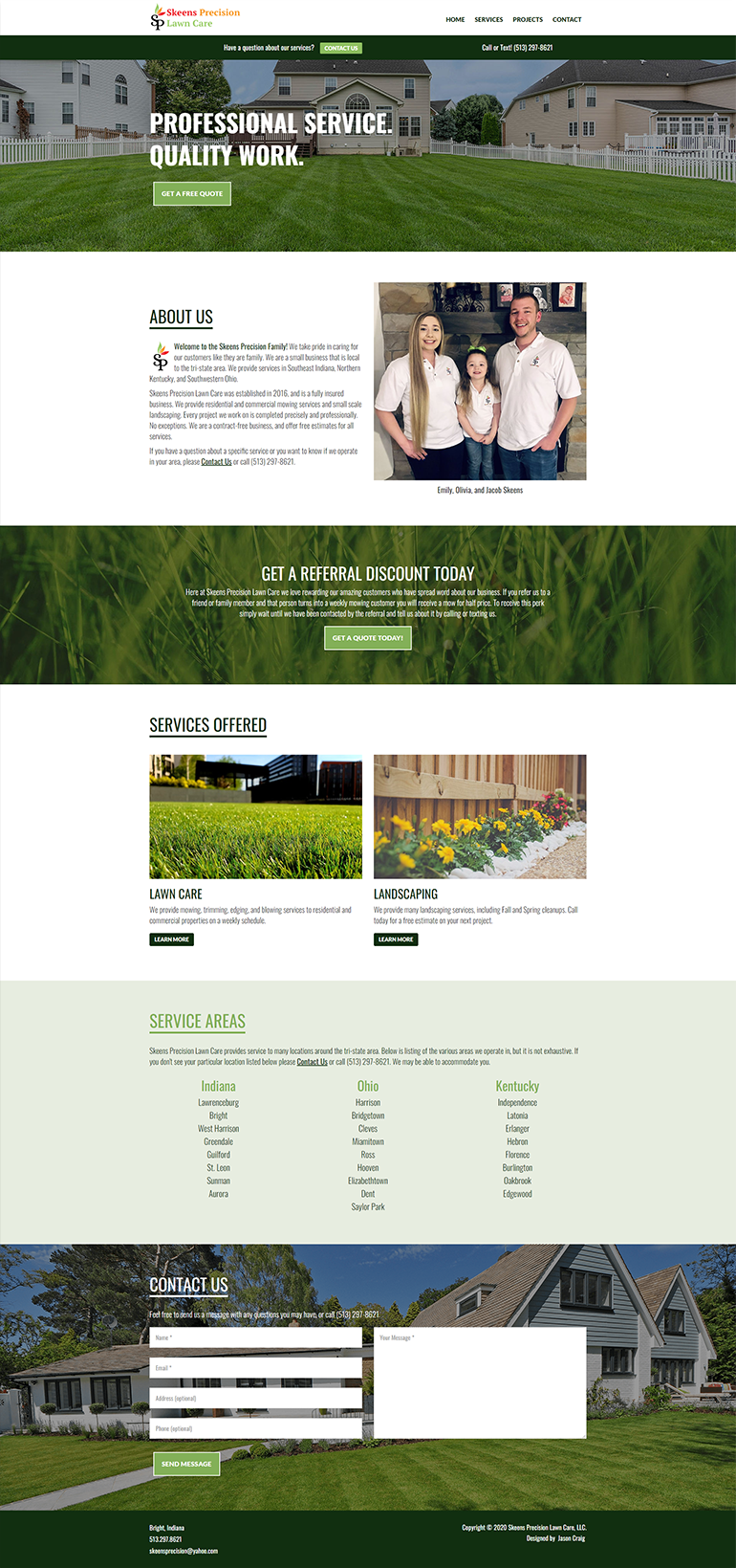 Skeens Precision Lawn Care website homepage layout.