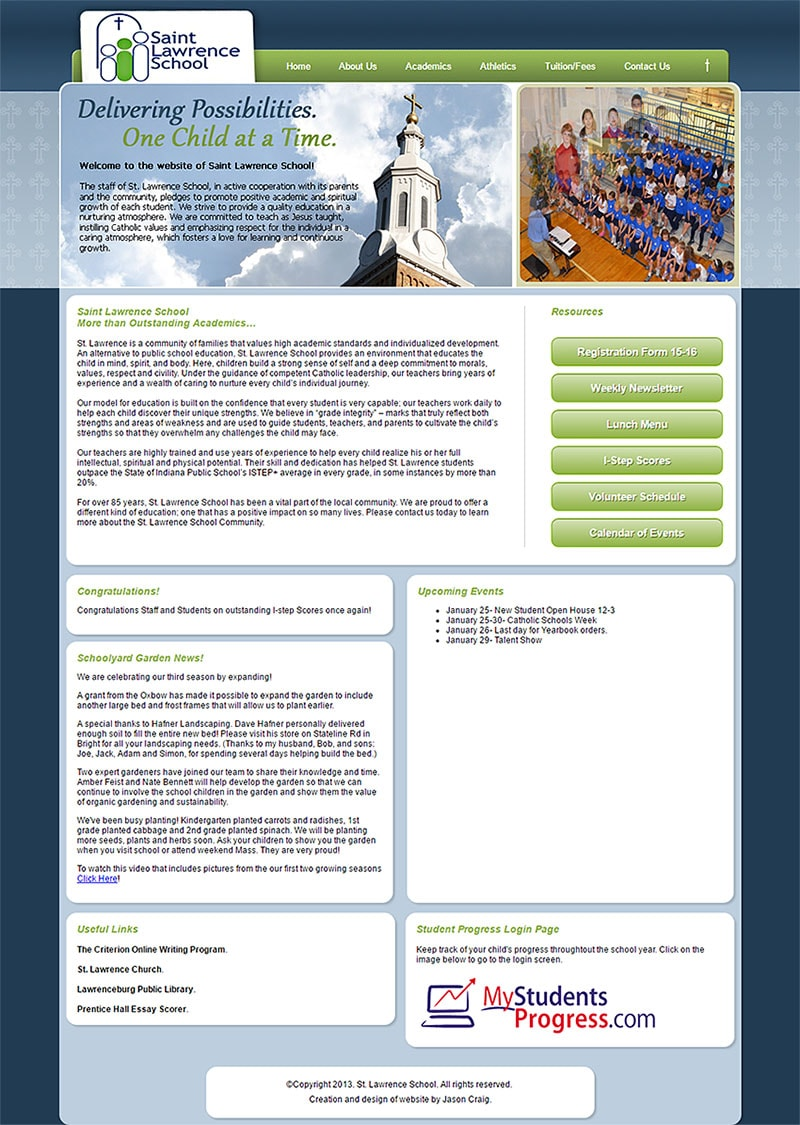 Collage of screen captures of the St. Lawrence Catholic School website