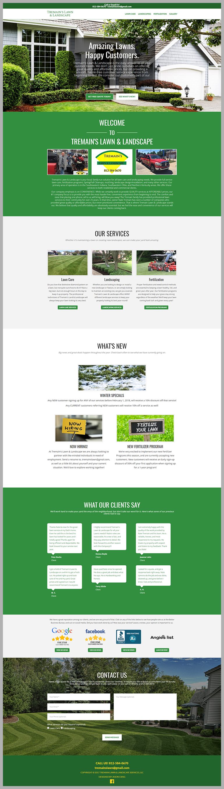 Header section of Tremain's Land and Landscape website.
